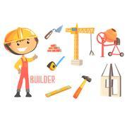 Boy Builder, Kids Future Dream Construction Worker Professional Occupation Piirros