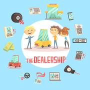 Car Dealership Firm Professional Dealer Selling The Vehicle To The Young Couple Stock Illustration