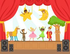 Children Actors Performing Fairy-Tale On Stage On Talent Show Colorful Vector Stock Illustration