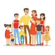 Happy Big Caucasian Family With Many Children Portrait With All The Kids And Stock Illustration