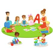 Young Children Learning Alphabet And Playing In Nursery School With Teacher Stock Illustration