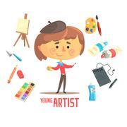 Boy Artist Painter, Kids Future Dream Professional Occupation Illustration With Stock Illustration
