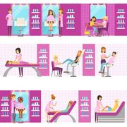 Women In Beauty Salon Enjoying Hair And Skincare Treatments And Cosmetic Stock Illustration
