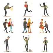 Burglars, Pickpockets And Thieves Set Of Smiling Criminals At The Crime Scene Stock Illustration