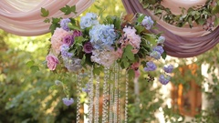 Wedding decor with flowers and crystals. Stock Footage