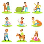 Children Petting The Small Animals In Petting Zoo Collection Of Cartoon Stock Illustration