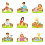 Children Petting The Small Animals In Petting Zoo Set Of Cartoon Illustrations Stock Illustration