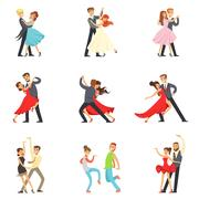 Professional Dancer Couple Dancing Tango, Waltz And Other Dances On Dancing Piirros