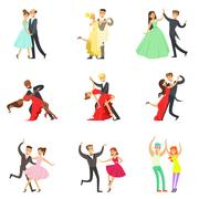Professional Dancer Couple Dancing Tango, Waltz And Other Dances On Dancing Stock Illustration