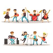 Children Musicians Performing On Stage On Talent Show Colorful Vector Stock Illustration