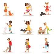 Children And Cats Illustrations Set With Kids Playing And Taking Care Of Pet Stock Illustration