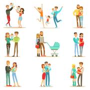 Young And Expecting Parents With Small Babies And Toddlers Serie Of Happy Full Stock Illustration