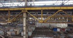 Metal Constructions & support beams in closed shop of an old abandoned shipyard Stock Footage