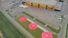 Saint-Petersburg - 20 october, 2016. Aerial shot of new Expoforum exhibition Stock Footage