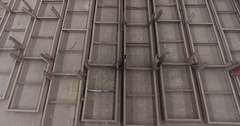 Top view of metal structures square-shaped an old abandoned shipyard Stock Footage