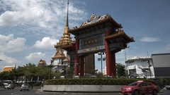 The Chinese gate at China town in Bangkok Stock Footage