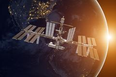 International Space Station over the planet Earth. Kuvituskuvat