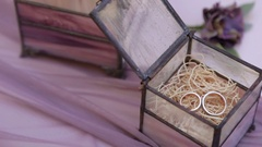 Gold wedding rings lie in a box. Stock Footage