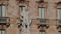Statue of Giuseppe Garibaldi in Trapani Sicily Stock Footage