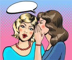 Women whisper pop art comic vector Stock Illustration