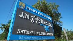 WILDLIFE REFUGE_DING DARLING SIGN AT PARK ENTRANCE Stock Footage