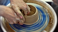 Education pottery. Making the bowl. Part 7. Stock Footage