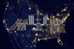 International Space Station over USA. Stock Photos