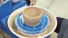 Education pottery. Making the bowl. Part 9. Stock Footage