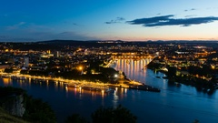 Koblenz Oldtown and Deutsches Eck At Night Time Lapse in 4K Stock Footage