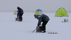 Timelapse winter fishing on the ice. Stock Footage