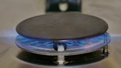 Open flame of a domestic stovetop Stock Footage