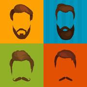 Men cartoon hairstyles with beards and mustache background. Vector illustra.. Stock Illustration