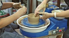 Education pottery. Making the bowl. Part 8. Stock Footage