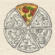 Square poster with monochrome and colorful slice pizza Stock Illustration