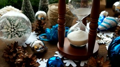Christmas and New year background with presents, ribbons, balls and different Stock Footage