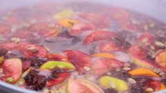 Mulled wine in a pot Stock Footage