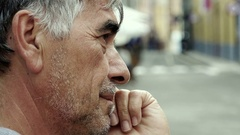 Profile of mature man thinking Stock Footage