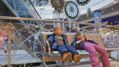 The kids at the Mall Stock Footage