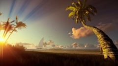 Tropical landscape with yacht sailing, palm trees and woman walking on the beach Stock Footage