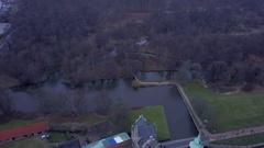 Aerial shot of Frederiksborg Castle in Denmark Stock Footage