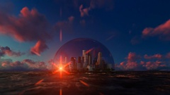 Modern city in a glass dome on ocean, timelapse sunrise Stock Footage