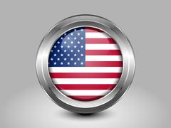 Flag of United States of America. American Flag. Metal and Glass Round Icon Stock Illustration