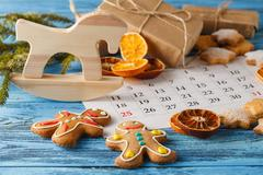 Ready to coming christmas. Calendar with marked date of christmas day Stock Photos