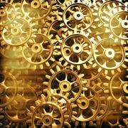 Gold gears and cogs macro Stock Illustration