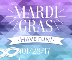 Mardi Gras inscription with masquerade mask silhouette on mosaic background Stock Illustration