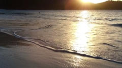 Slow motion beach shoreline at trunk bay, St John, United States Virgin Islands Stock Footage