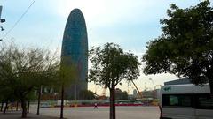 Torre Agbar in Barcelona. Spain. 4K. Stock Footage