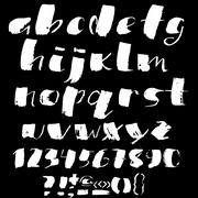Hand drawn font made by dry brush strokes. Grunge style alphabet Stock Illustration