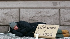 4K.  city winter  street and homeless  unemployment adult man . Stock Footage