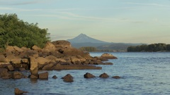 Mount Hood in the distance from the banks of the Columbia River Stock Footage